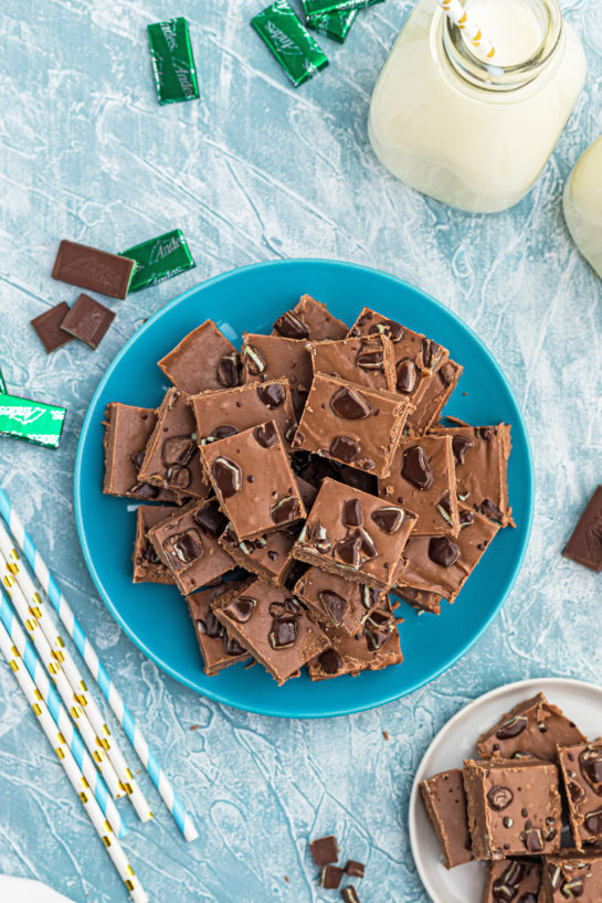 Overhead shot of the Andes Candy Mint Fudge recipe