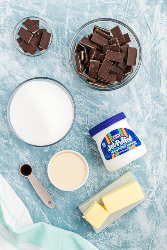 Ingredients needed to make Andes Mint Chocolate fudge for St. Patrick's Day