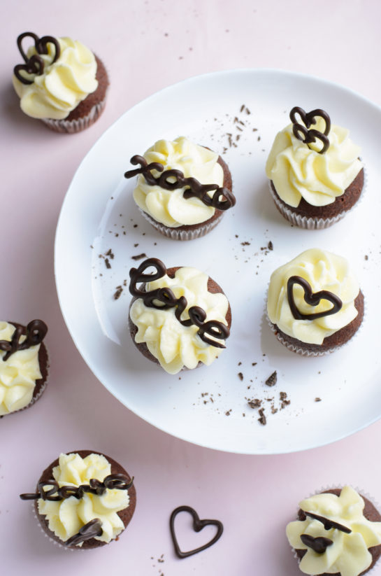 Overhead photo of the holiday Valentine's Day Lover's Chocolate Cupcakes recipe