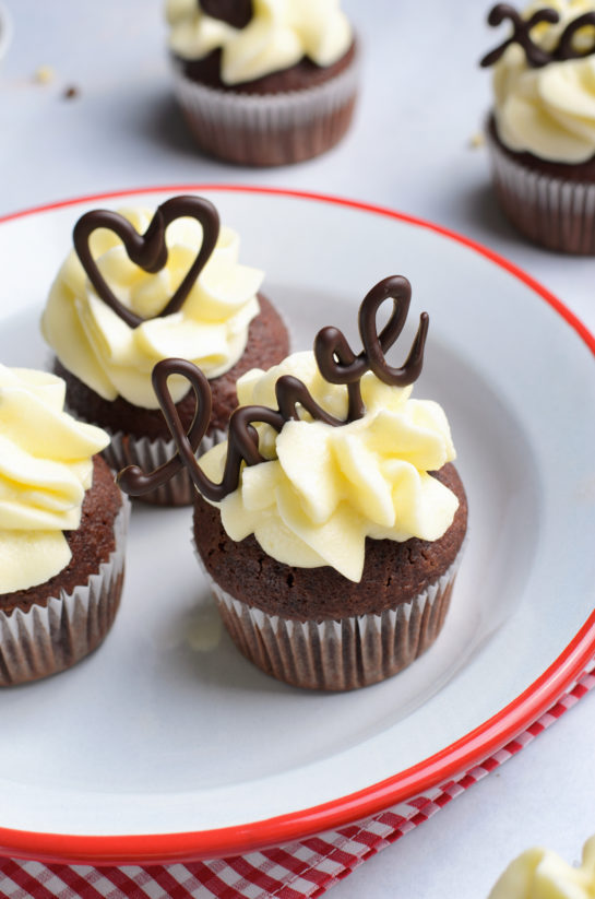 Close-up photo of the holiday Valentine's Day Lover's Chocolate Cupcakes recipe