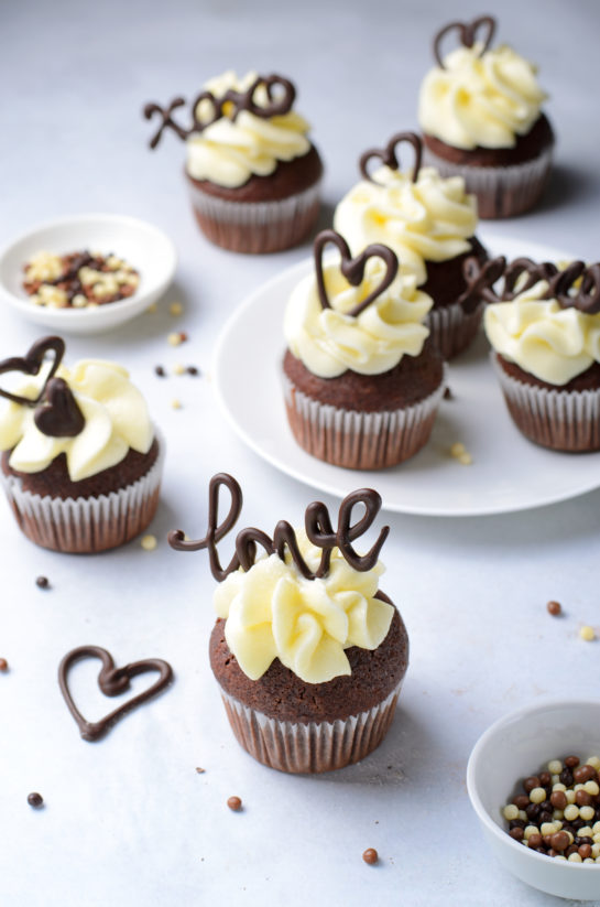 Lover's Chocolate Cupcakes recipe: Valentine's Day Chocolate Cupcakes that are elegant and gourmet treats made with no special skills and equipment. Show your Valentine how much you love them!