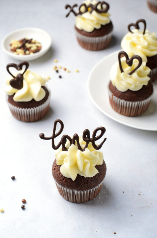 Finishing up the Valentine's Day Lover's Chocolate Cupcakes recipe