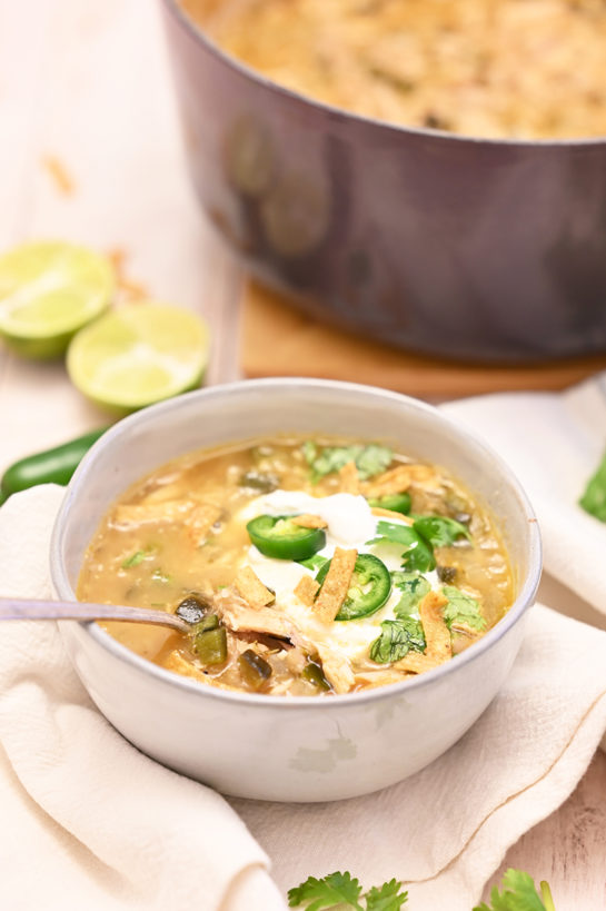 Easy White Chicken Chili recipe flavorful blend of tender chicken, white beans and just enough spice! This is my new favorite chili recipe for game day or cold winter day!