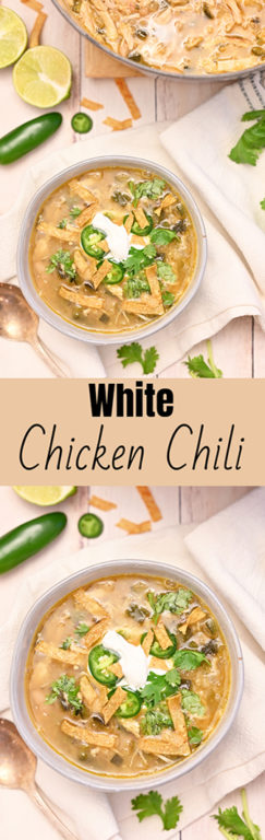 Easy White Chicken Chili recipe flavorful blend of tender chicken, white beans and just enough spice! This is the best chili recipe for a cold winter or fall day!