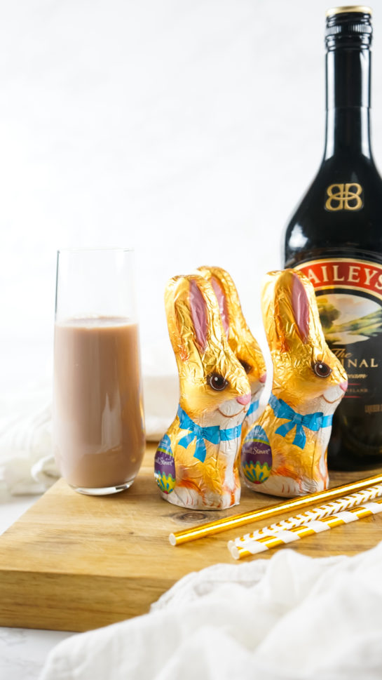 Bailey's Chocolate Bunny Cocktail recipe displayed and ready to be served for an Easter brunch or cocktail party