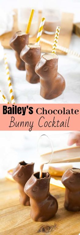 Bailey's Chocolate Bunny Cocktail recipe is a sweet, very chocolatey drink that is a delightful treat for adults and equally as fun! You can easily leave out the Bailey's and make it kid-friendly non-alcoholic chocolate drink they will love.