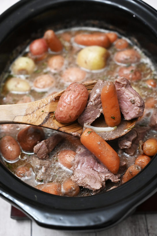This easy Crock Pot Beef Stew recipe is chunks of tender beef are cooked with shallots in a rich aromatic sauce for the ultimate comfort food!