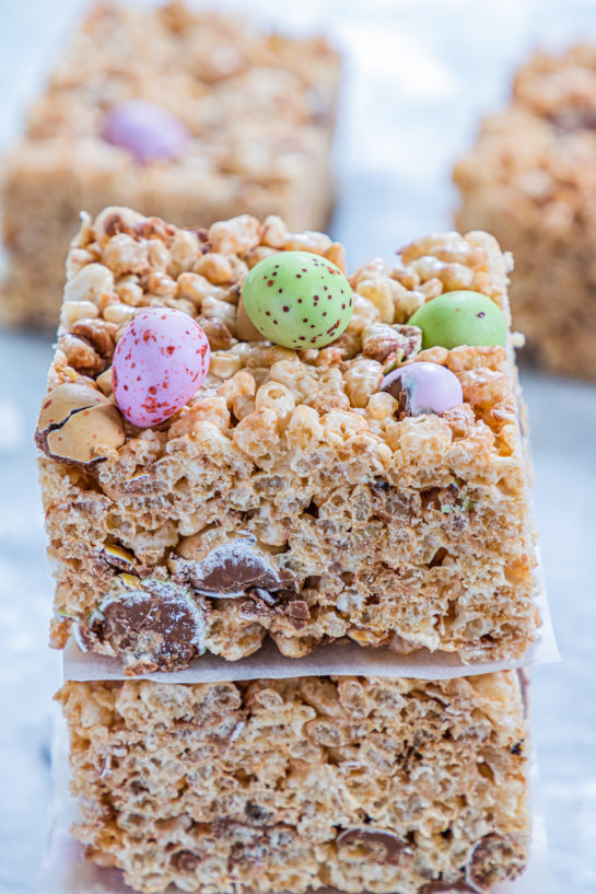 Mini Egg Rice Krispie Treats are a deliciously addictive dessert recipe for Easter! They're super easy and fun to make with kids. The perfect Easter treat!