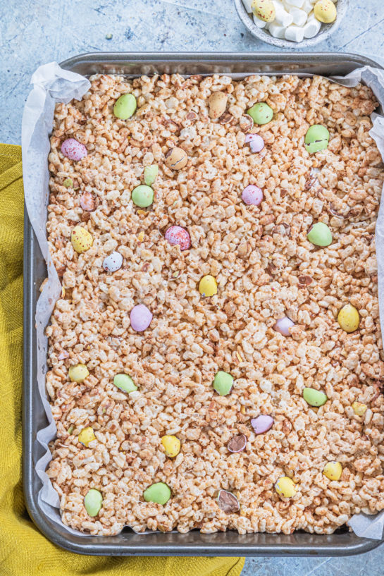 Mini Egg Rice Krispie Treats are a deliciously addictive dessert recipe for Easter! They're super easy and fun to make with kids. The perfect Easter sweet treat!
