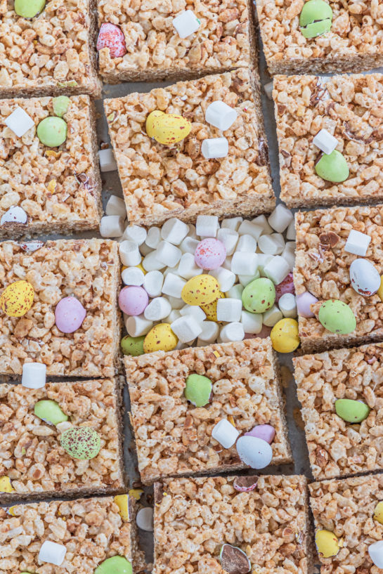 Mini Cadbury Egg Rice Krispie Treats are a deliciously addictive dessert recipe for Easter! They're super easy and fun to make with kids. The perfect Easter treat!