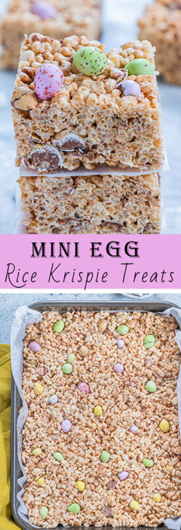 Mini Egg Rice Krispie Treats are a deliciously addictive dessert recipe for Easter! They're super easy and fun to make with kids. The perfect and easy Easter treat!