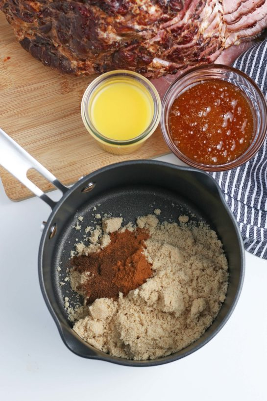 Making the glaze for Glazed Spiral Ham recipe