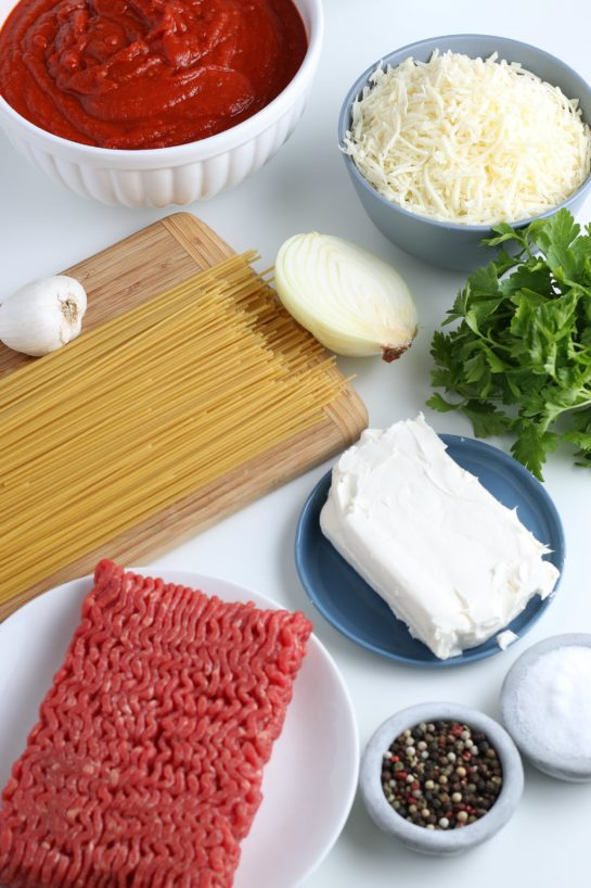 These are all the ingredients for our baked spaghetti recipe laid out before we start cooking.
