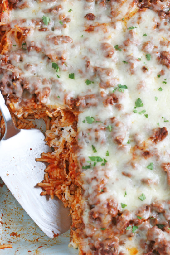 This photo shows the result of our baked spaghetti recipe ready to be shared and enjoyed.