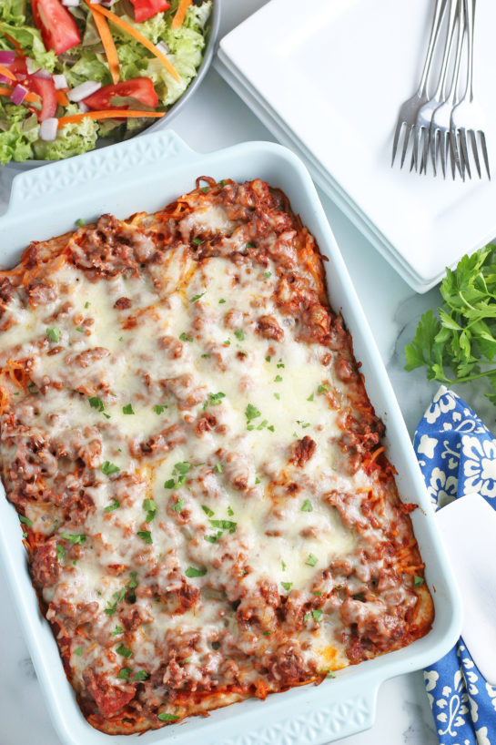 A look at the final baked spaghetti recipe after it's done in the oven, ready to be served.