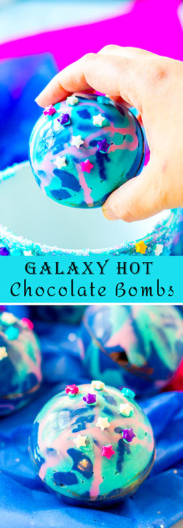 Galaxy Hot Chocolate Bombs are fun, colorful chocolate orbs filled with hot cocoa mix, marshmallows, and sprinkles. This recipe for hot chocolate bombs is an over-the-top way to level up your hot chocolate game for a kids' birthday party!