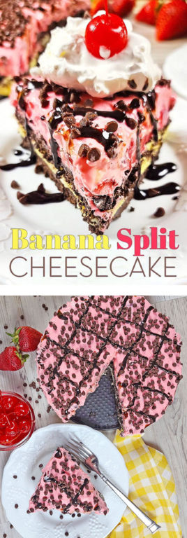 No-Bake Banana Split Cheesecake is a quick and easy summer dessert recipe! It is a light and festive treat that will impress family and friends for any holiday or outdoor event!