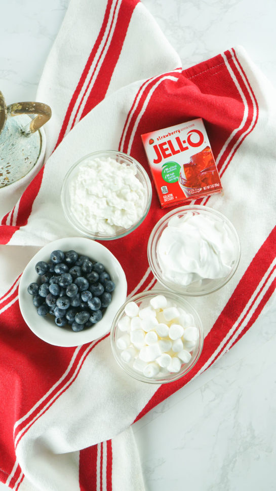 Ingredients needed to make the Red White and Blue Fluff Salad recipe