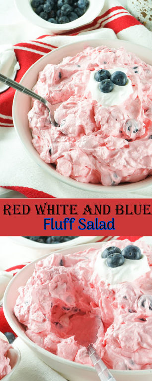 Festive Red White and Blue Fluff Salad recipe is a delicious dump and go dessert salad or side dish idea that is perfect for any and all occasions! This is such an easy dessert to bring to parties, Memorial Day, 4th of July picnics, and potlucks.