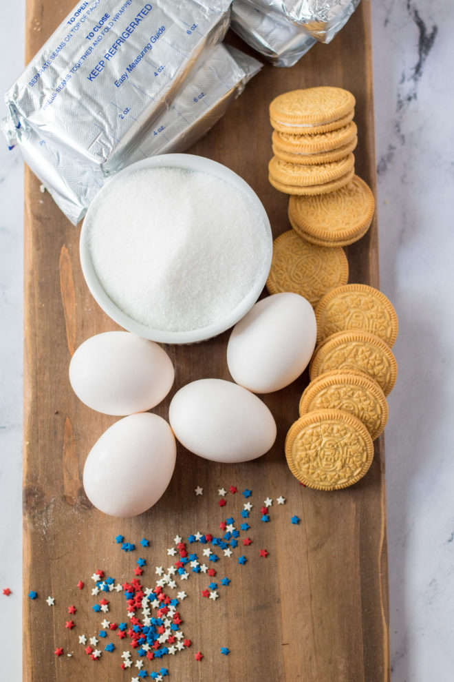 Ingredients needed to make the Red, White, and Blue Mini Cheesecakes Recipe