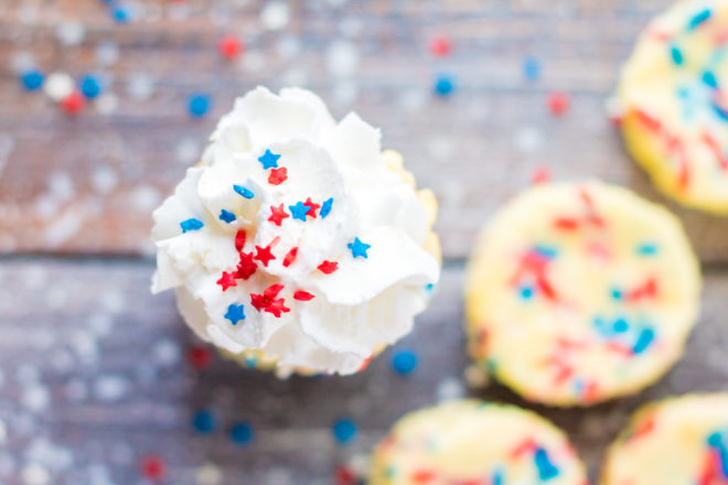 Overhead shot of the Red, White, and Blue Mini Cheesecakes recipewith frosting