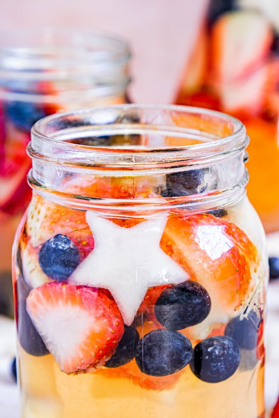 Close-up photo of a glass of Patriotic Sangria recipe ready to serve for the fourth of July