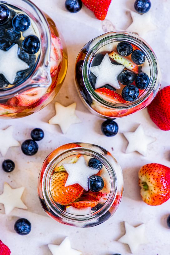 Overhead shot of my Patriotic Sangria recipe ready to serve for the fourth of July