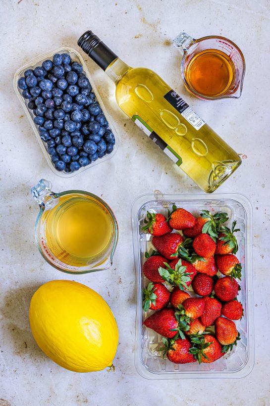 Ingredients needed to make my Patriotic Sangria Recipe