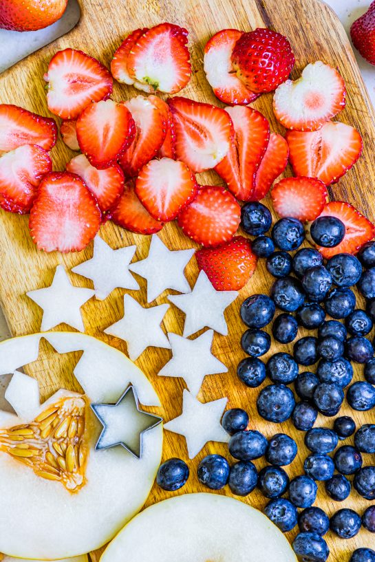 The cut-up fruit and melon stars needed to make my Patriotic Sangria Recipe