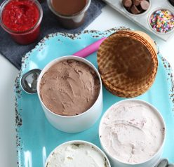 Create your own Ice Cream Sundae Bar or ice cream social party that's perfect for any kind of celebration! Jazz up your birthdays, graduations, or just a regular weekend to serve with friends!