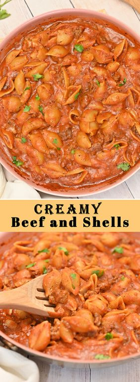 Creamy Beef and Shells is the ultimate creamy pasta recipe! It is incredibly rich, filling, and just screams comfort food!