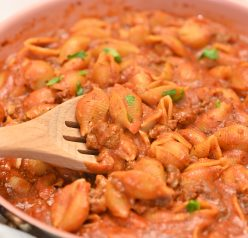 Creamy Beef and Shells is the ultimate creamy pasta recipe! It is incredibly rich, filling, and screams comfort food!