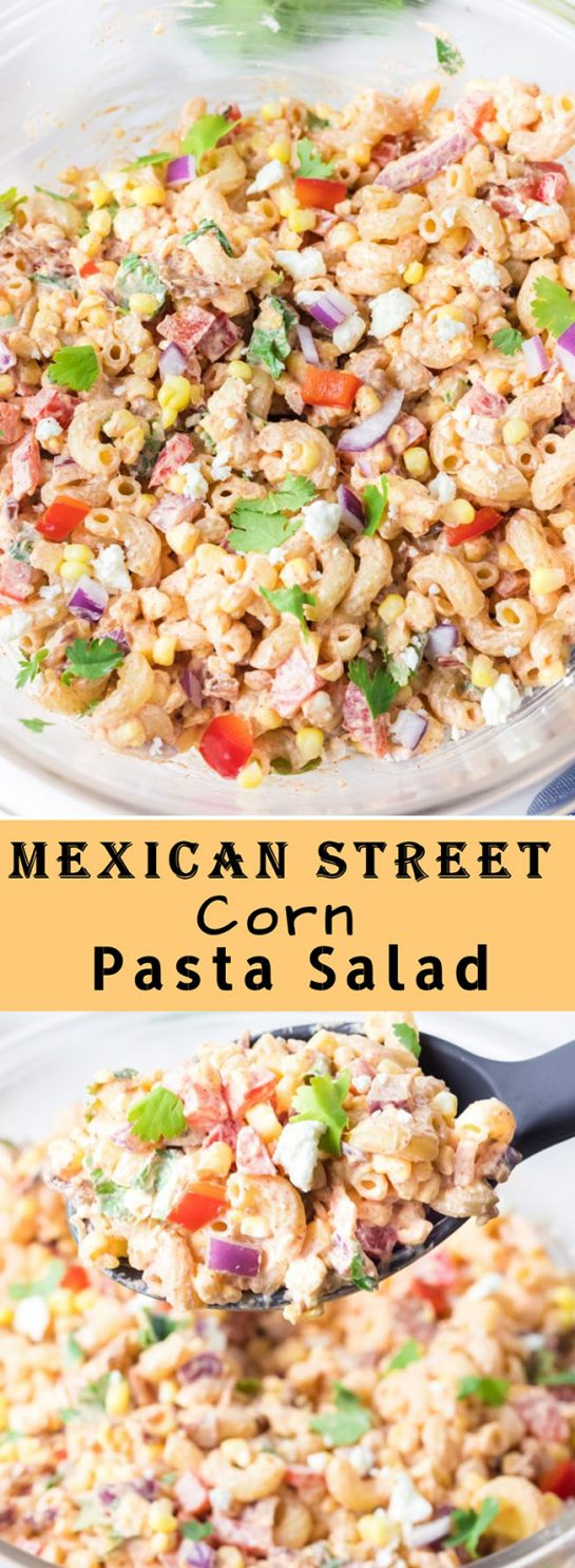 Mexican Street Corn Pasta Salad is simple and healthy, yet so tasty. It's the perfect side or main dish for a party or just a quick meal during the week with a Mexican twist!