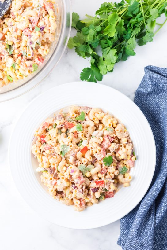 Mexican Street Corn Pasta Salad is simple and healthy, yet so tasty. It's the perfect side or main dish for a big gathering or just a quick dinner during the week with a Mexican twist!