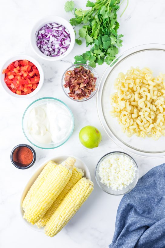 Ingredients needed for the Mexican Street Corn Pasta Salad recipe