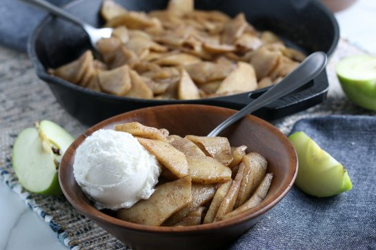 Easy Fried Apples are fresh apple wedges cooked up in butter, sugar and cinnamon until soft and browned. An easy side dish for Thanksgiving or dessert option for the fall that everyone raves about!