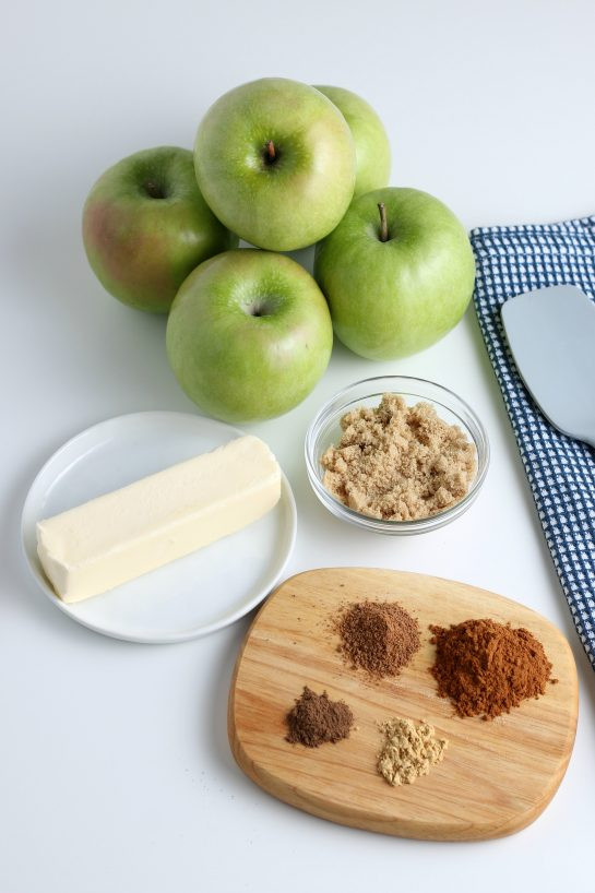 Ingredients needed to make the fried apples recipe