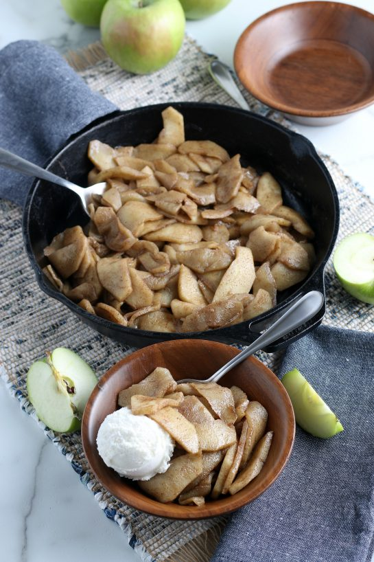 Easy Fried Apples are fresh apple wedges cooked up in butter, sugar and cinnamon until soft and browned. An easy side dish or dessert option for the fall that always gets rave reviews!