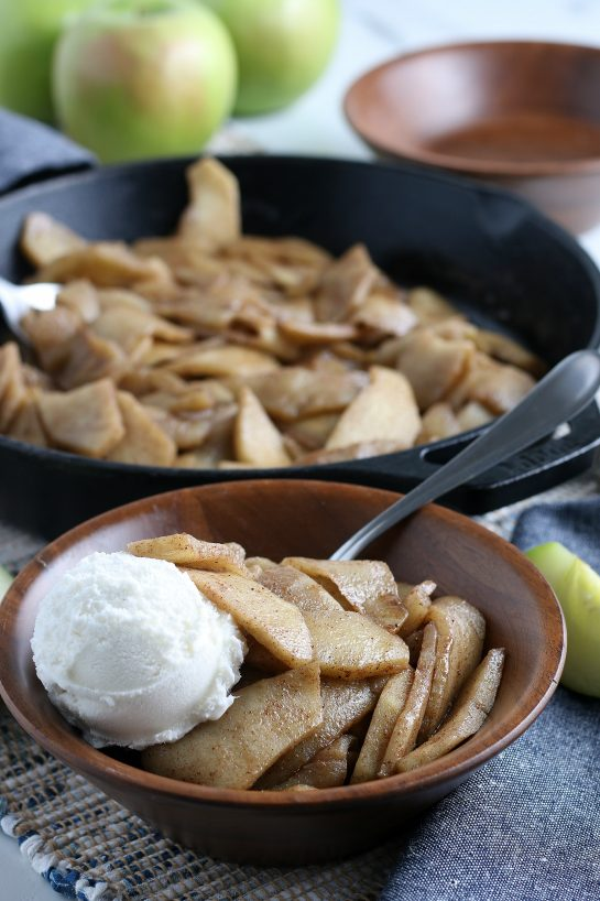 Easy Fried Apples are fresh apple wedges cooked up in butter, sugar and cinnamon until soft and browned. An easy side dish or dessert option for the fall that always gets the best reviews!