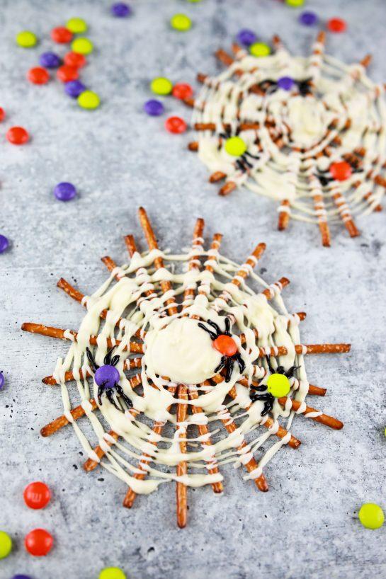Overhead photo of the Spooky Halloween Chocolate Pretzel Spider Webs recipe
