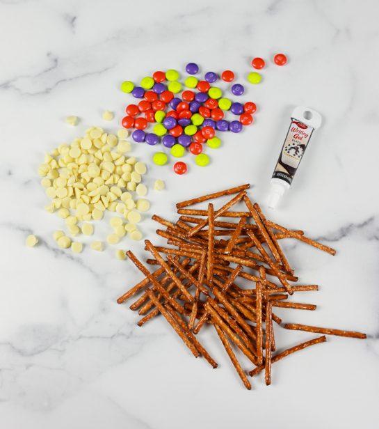 Ingredients needed to make the Halloween Chocolate Pretzel Spider Webs