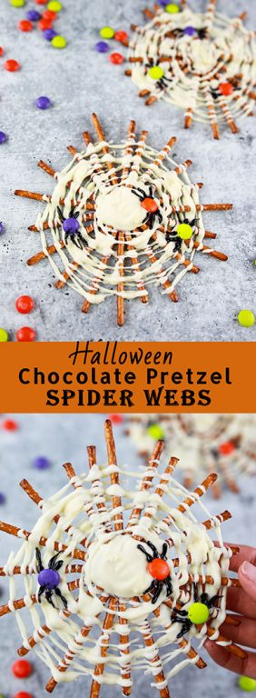 Spooky Halloween Chocolate Pretzel Spider Webs are a fun, sweet & salty dessert recipe to serve for a children's or adult Halloween party! They are easy so to make!